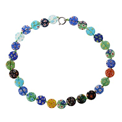 Skyllc® Millefiori Lampwork Glass Round Beads Necklace CHIC TRENDY QyKudGSgs