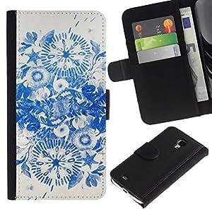For Samsung Galaxy S4 Mini i9190 MINI VERSION!,S-type® Blue Ink Flowers China - Dibujo PU billetera de cuero Funda Case Caso de la piel de la bolsa protectora