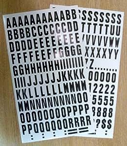 Pack de 594.4x2.5cm (25mm) negro sobre blanco Vinilo Adhesivo letras Y Números , autoadhesivo , adhesivo , impermeable letras para letreros, vehículos, barcos, pósters & proyectos de escuela