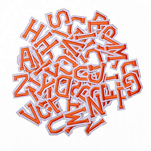 AXEN 52pcs Alphabet A to Z Patches, Iron on Sew on Letters for Clothes, Classic Orange