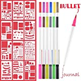 7 year old girl drawing - Bullet Journal Supplies,12 pieces DIY Drawing Template 4x7 Inch & 12 Color Dual Art marker Fineliner pens, Gifts for 5-12 Year Old Boys Girls, Creative Notebook Diary Scrapbook Templates Planner Kit