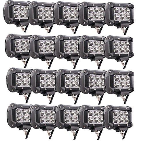 Lumitek 20PCS 4inch 18W LED Light Bar CREE Spot Light 1500LM Led Pods IP67 Waterproof 6000K Led Fog Lights Driving Lights Off-road