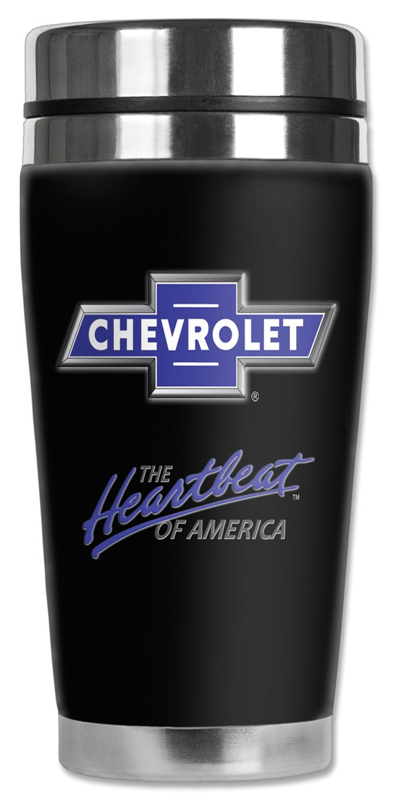 Mugzie GM-122-MAX ''Chevrolet Heartbeat of America Logo'' Stainless Steel Travel Mug with Insulated Wetsuit Cover, 20 oz, Black by Mugzie (Image #1)