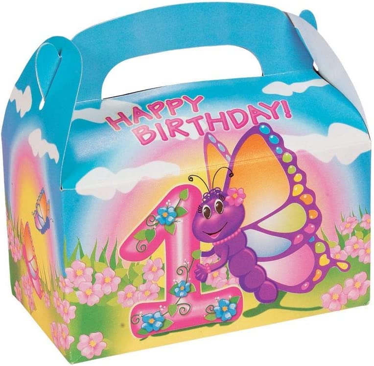 Fun Express - 1st B-Day Butterfly Treat Boxes (12pc) for Birthday - Party Supplies - Containers & Boxes - Paper Boxes - Birthday - 12 Pieces