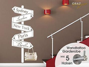 Graz Design 970161_57_010 Wandtattoo Garderobe 5 Haken Wandhaken Deko Für  Flur Städte Orte Wegweiser (Größe