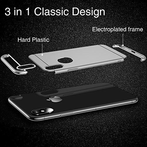 iPhone X Case, TORRAS [Lock Series] 3 in 1 Hybrid Hard Plastic Case Ultra Thin and Slim Anti-scratch Matte Finish Cover Case for Apple iPhone X - Silver Photo #7