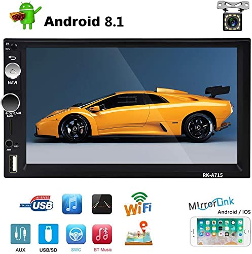 Double Din Android Car Navigation Stereo 1G 16G Car Entertainment Multimedia Radio Indash Head Unit Support WiFi SWC DVR Mirror Link USB FM Rear View Car Audio
