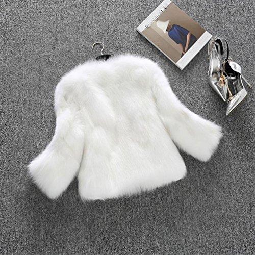 Abrigo de Blanco mujer de de sintética de Internet de Abrigo piel suave piel abrigo abrigo esponjoso invierno Chaqueta Escudo qUAwC7Zx