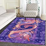 Dragon small rug Carpet Chinese Figure with Ying Yang Signs Ethnic Patterns Asian Arts Meditation Themed door mat indoors Bathroom Mats Non Slip 2'x3' Purple Coral