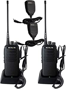 Retevis RT1 2 Way Radios Long Range High Power UHF 16 Channel Rechargeable VOX Rugged Walkie Talkies with Earpiece and Speaker Mic (2 Pack)