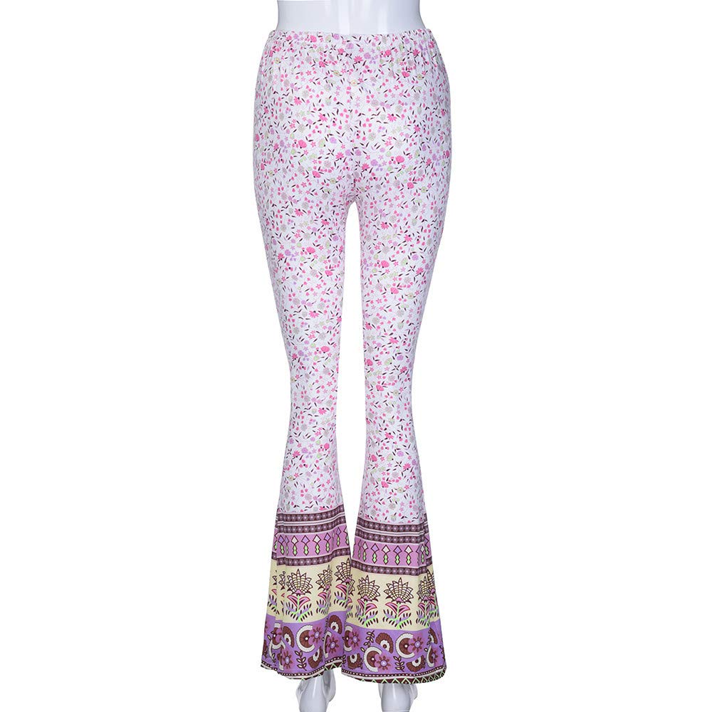 Pant For Women, Pervobs Womens Casual High-Waist Floral Print Sports Bell-bottoms Harem Yoga Wide Leg Pants(XL, Pink) by Pervobs Women Pants (Image #4)