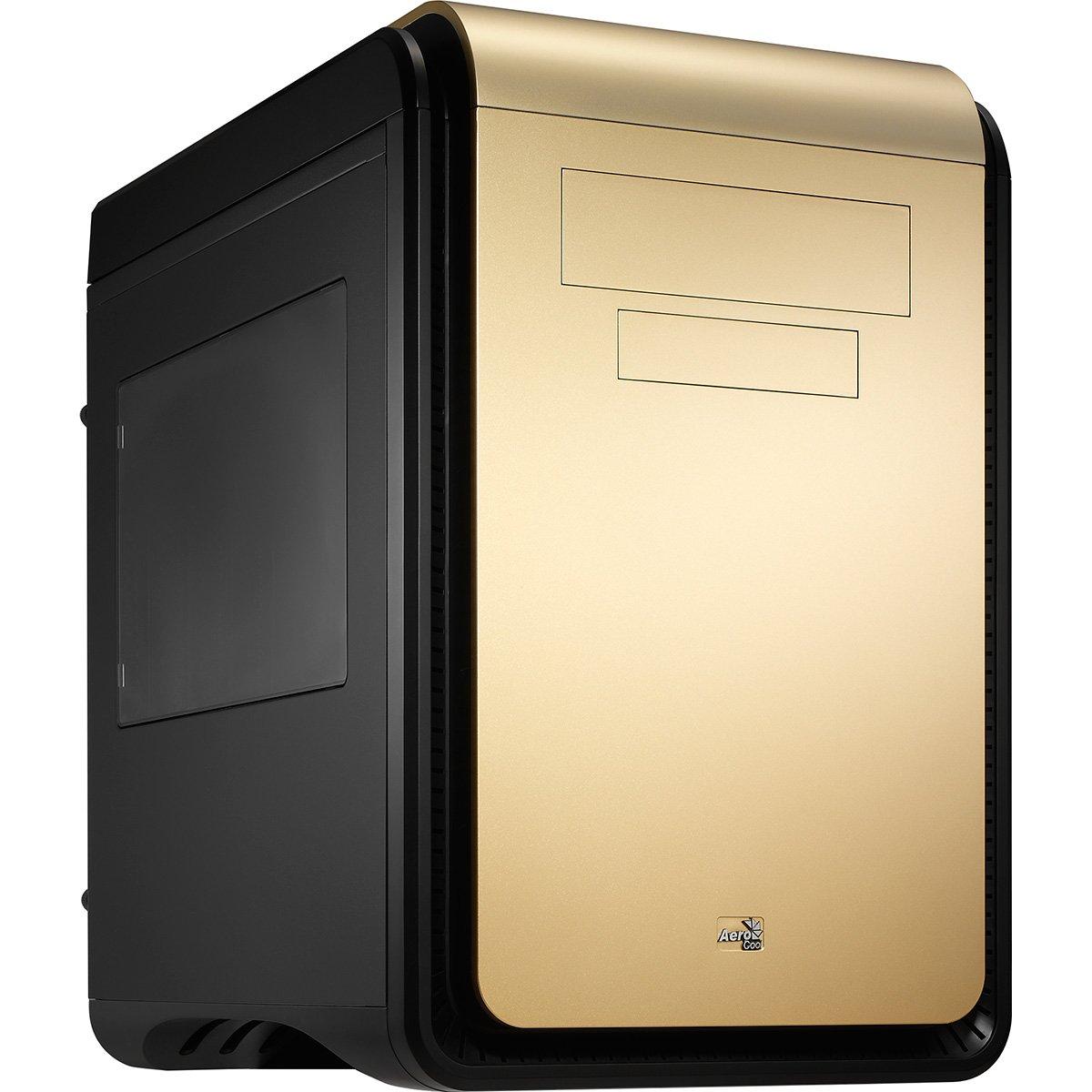 Cubo, PC, SGCC, Fondo, 1x 200 mm, 120, 140, 200 mm Negro Caja de Ordenador Oro Aerocool DS Cube