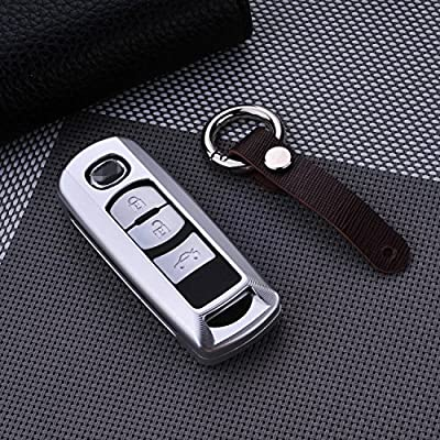 [MissBlue] Aircraft Aluminum Key Fob Cover For Mazda Remote Key, Protector Case Fits Mazda 8 CX-4 CX-5 CX-7 CX-9 Atenza Axela Car Key, Unisex Leather Key Fob Keychain for Men Key Holder for Women