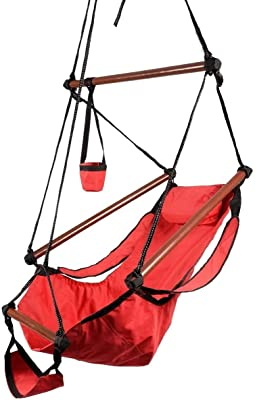 Hammock Hanging Chair Air Deluxe Sky Swing Outdoor Chair Solid Wood 250lb (Red)