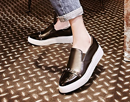 Pied De Charme Womens Chic Bout Pointu Plateforme Dimpression Animal Chaussures Mocassins Noir