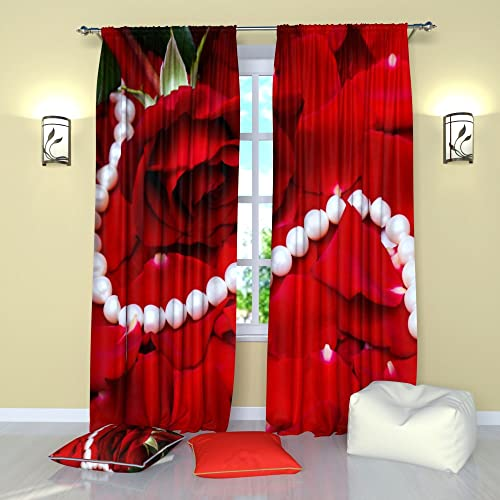 Factory4me Red Curtains Collection Roses