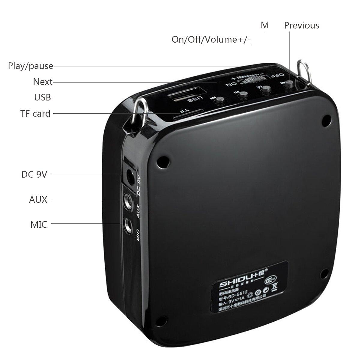 Amplificador de voz SHIDU SD-S613 (18 W) con batería de litio de 1200 mAh y micrófono inalámbrico para docentes / entrenadores / guías de turismo ...