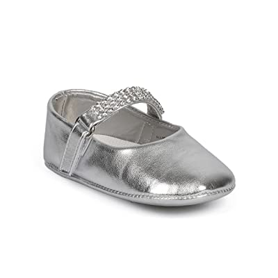 Aadi DH94 Girl Metallic Rhinestone Studded Velcro Mary Jane Flat (Infant) - Silver