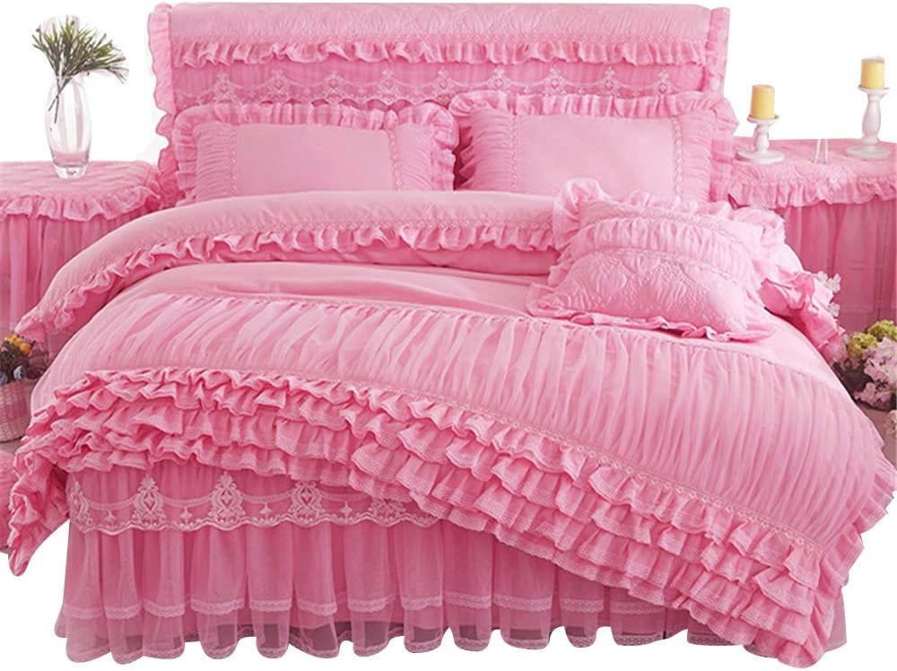 Lotus Karen Rose Princess Bed Sets Multi Layers Ruffles with Lace Girls Bedding Set Romantic Korean Style Bed Cover Set for Girls (1Duvet Cover, 1Bedskirt, 2Pillowcases)