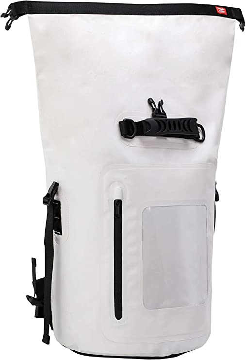 Amazon.com : MIER Large Waterproof Backpack Roll Top Dry Bag for Kayaking, Boating, Rafting, Surfing, Swimming, Easy Access Front Zippered Pocket, Padded Back Support and Cushioned Adjustable Straps, 40L, White : Sports & Outdoors
