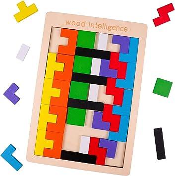 Rolimate Rompecabezas de Madera Wooden Tetris Puzzle Rompecabezas, Juguete de Inteligencia Stem Montessori Regalo de cumpleaños Educativo para 3 4 5+ años Niño Niña, Juego de Bloques (40 PCS): Amazon.es: Juguetes y juegos