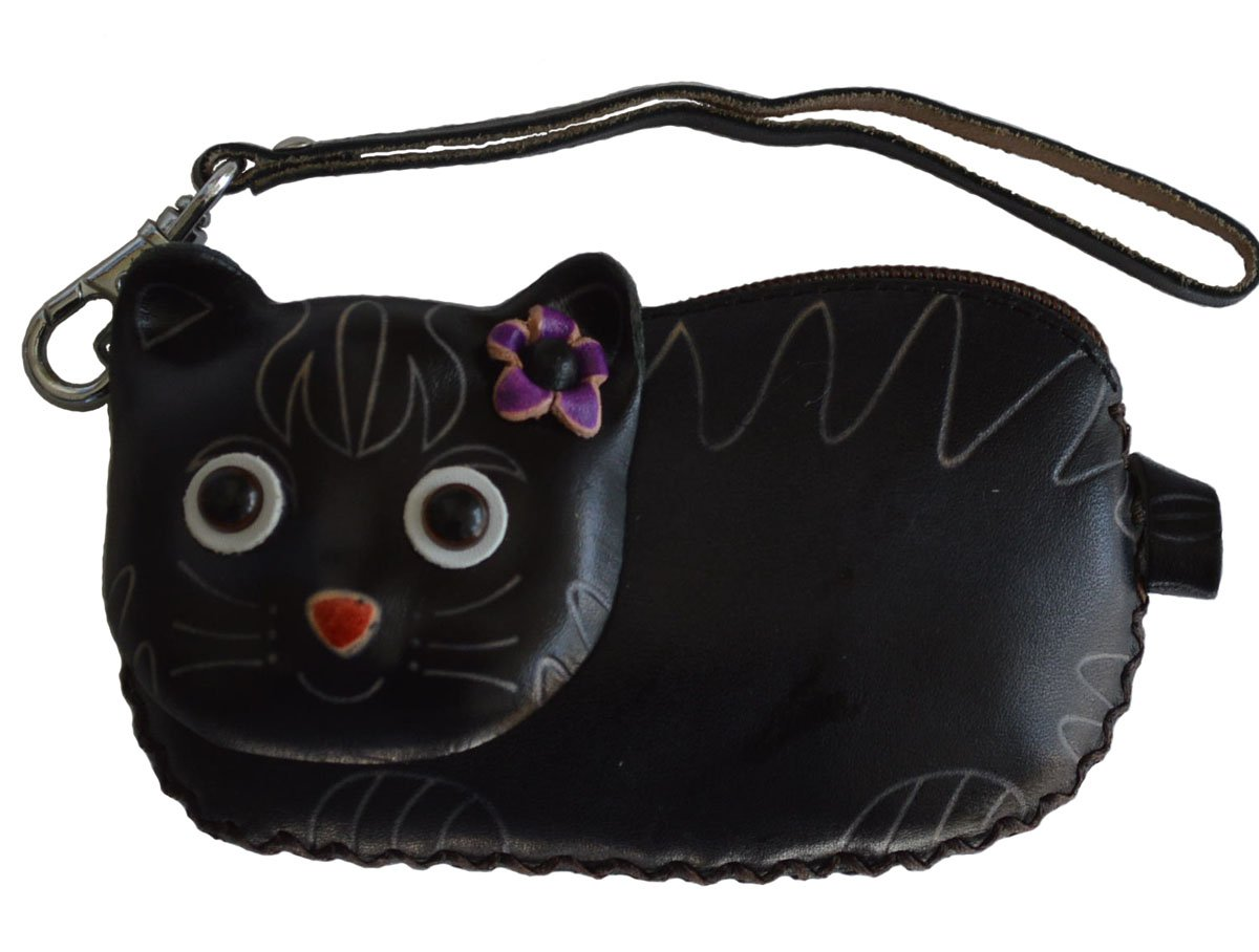 Leather Change Purse/credit Cards Holder. Beauty Cat Pattern. Zipper Closure (Black)