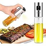 Olive Oil Sprayer, Transparent Food-grade Glass Oil Spray Portable Spray Bottle Vinegar Bottle Oil Dispenser for for BBQ Making Salard Cooking Baking Roasting Grilling Frying Kitchen Stainless Steel