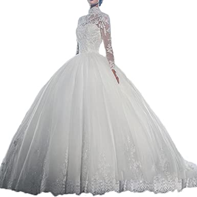 Yuxin High Neck Long Sleeves Wedding Dress Lace Ball Gown Wedding ...