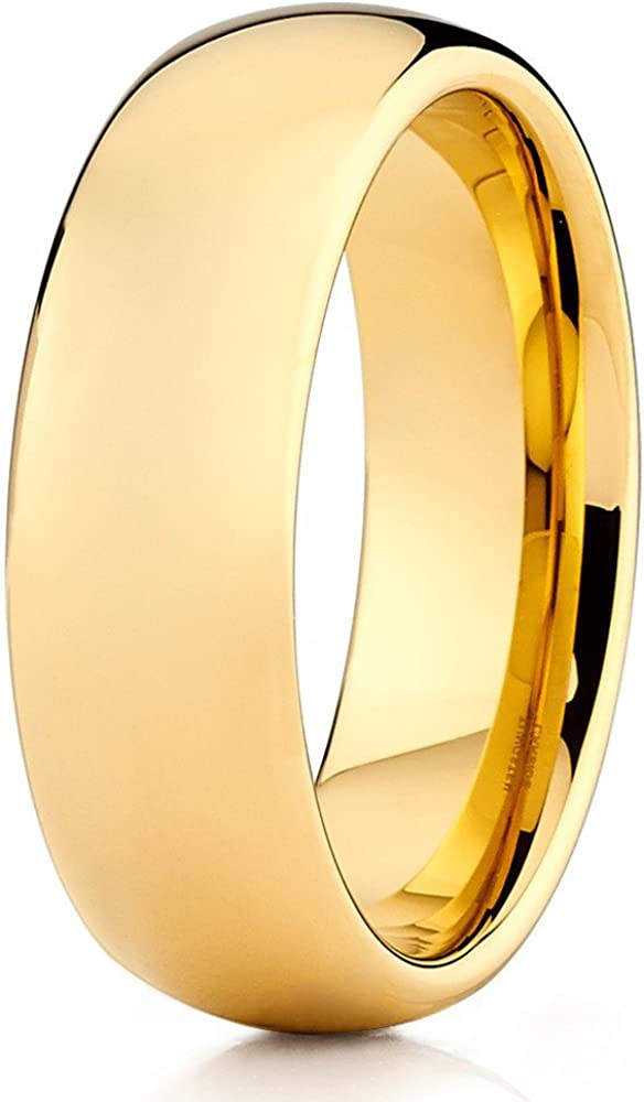 Silly Kings 7mm Tungsten Carbide Wedding Band 18k Yellow Gold Shiny Polished Men & Women Comfort Fit Ring