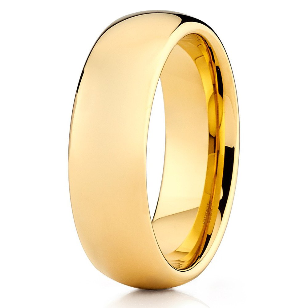 Choose Men /& Women Yellow Gold Tungsten Carbide Shiny Polish Wedding Band Ring