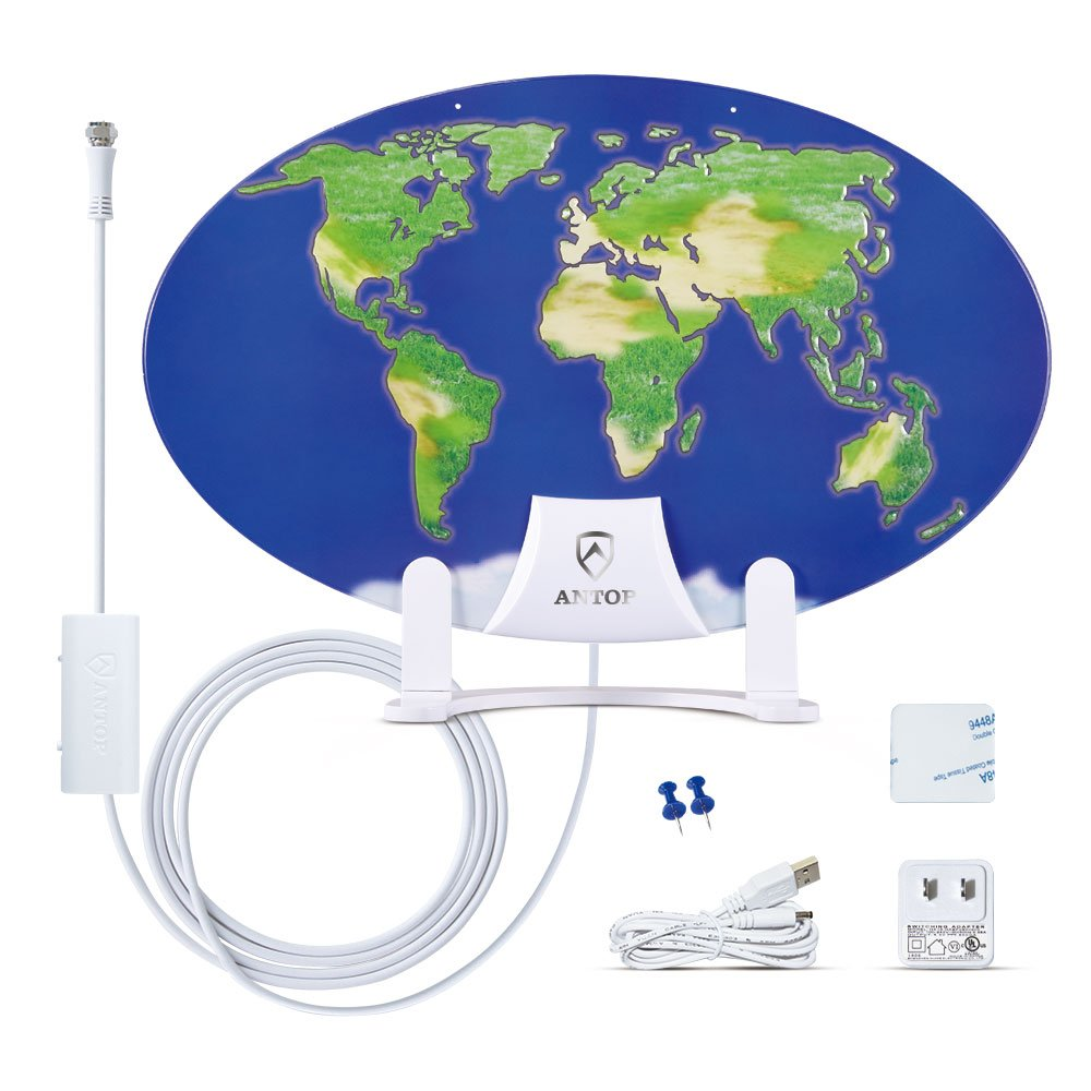 ANTOP World Map Mini AT-121B Indoor HDTV Antenna Smartpass Amplified