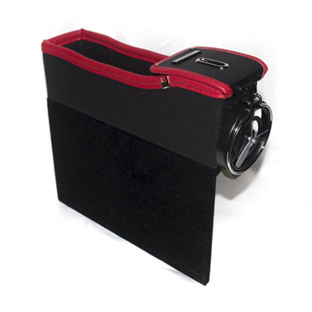 Tasca laterale per cruscotto auto, contenitore multifunzione in pelle per auto, borsa per sedile dell'auto con portamonete e portabicchiere, colore nero e rosso, confezione da 1 Right Seat borsa per sedile dell' auto con portamonete e portabicchiere