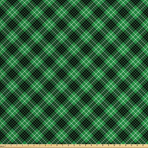 Ambesonne Plaid Fabric by The Yard, Diagonal Tartan Vibrant Green Color Geometrical Design with Stripes and Checks, Decorative Fabric for Upholstery and Home Accents, 1 Yard, Green Black White ()
