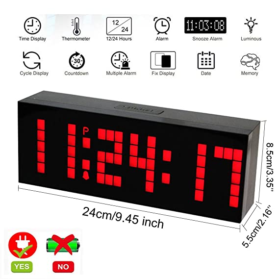 Amazon.com: LambTown Digital Led Countdown Timer Electronic Alarm Clock with Temperature Date - Red: Kitchen & Dining