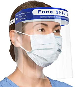 Reusable Full Face Shield Anti-dust Anti-Fog Transparent Breathable Visor- 10 Pcs Face Eyes Nose Mouth Protection Anti-Droplets