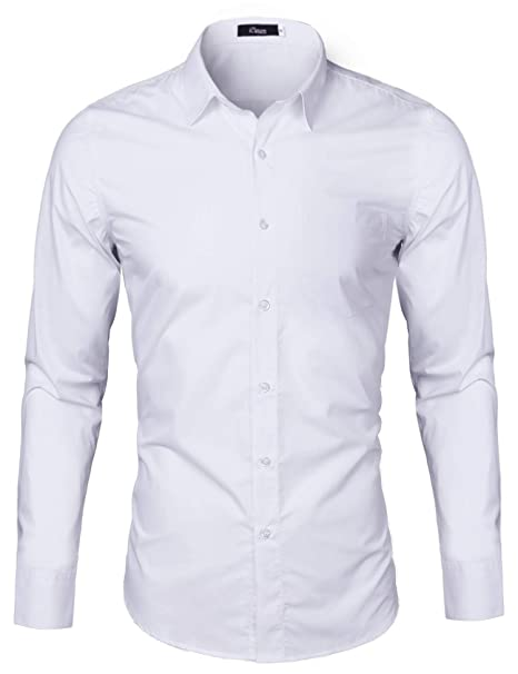 iClosam Camisa Hombre Slim Fit Manga Larga Transpirable ...