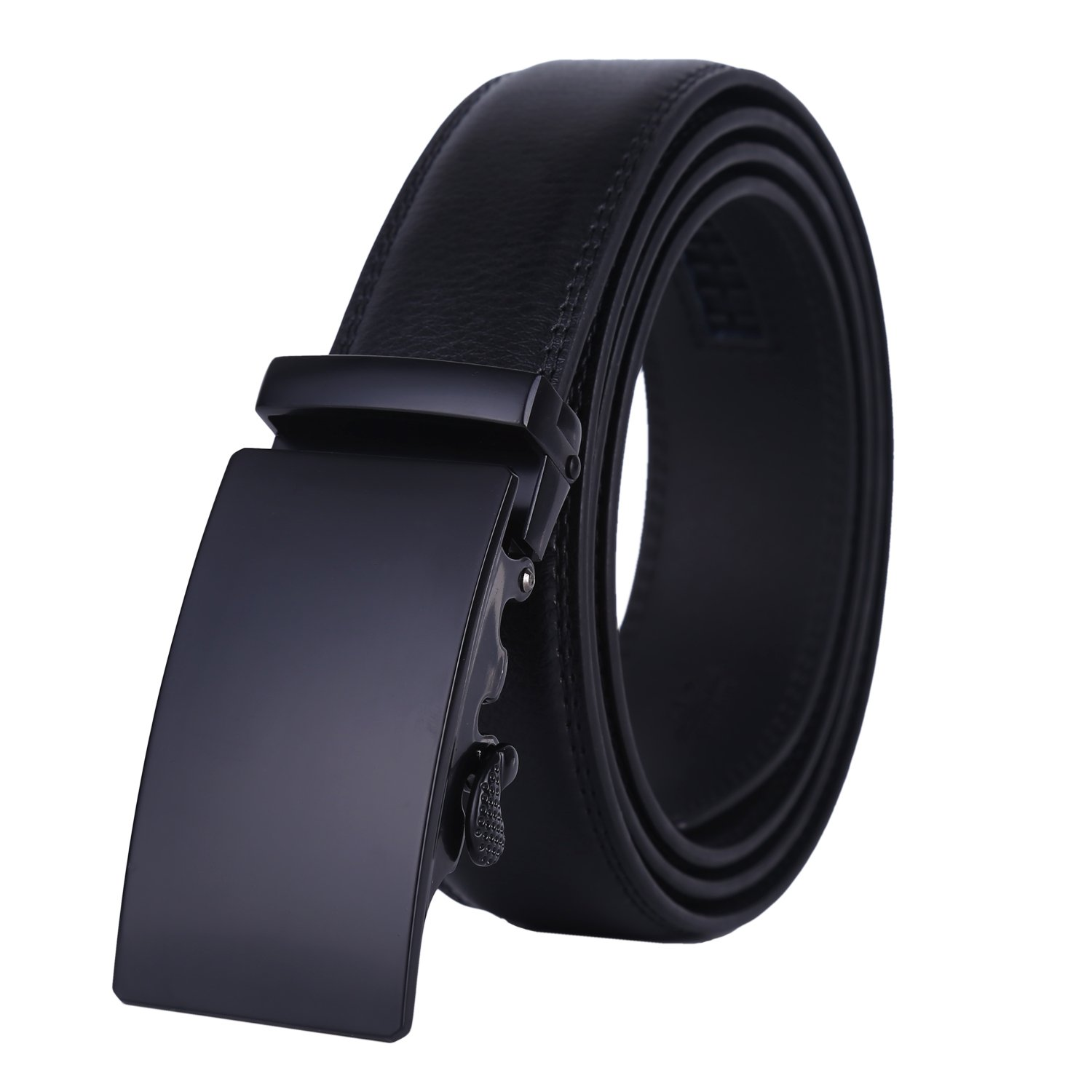 Dante Men's Real Leather Ratchet Dress Belt with Automatic Buckle-Elegant Gift Box(25-0711 Black Buckle)