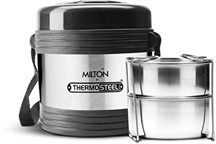 a5792868fe3a Milton Thermo Steel Legend 2,Office Tiffin 2 Containers Lunch Box Silver  (460 ml)