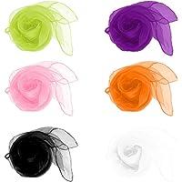 Cdet 12Pcs los 60 * 60cm Bufandas de Danza de Malabarismo Hemmed Bufanda multicolora Cuadrada de la Venda del Ritmo…