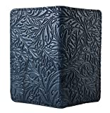 Oberon Design Acanthus Leaf Embossed Genuine Leather Checkbook Cover - 3.5x6.5 Inches - Navy