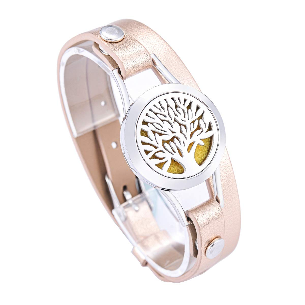 HooAMI Aromatherapy Essential Oil Diffuser Locket Bracelet Leather Band with 11 Color Pads Terrific-Young B0A0EA2SB8