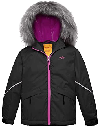 ba8870d05d Wantdo Girl s Waterproof Ski Jacket Warm Raincoat with Fur Hood Black ...