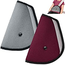 Kids Seatbelt Adjuster Set of 2, maxin Child Seat Belt Safter Covers - ( Red and Grey )