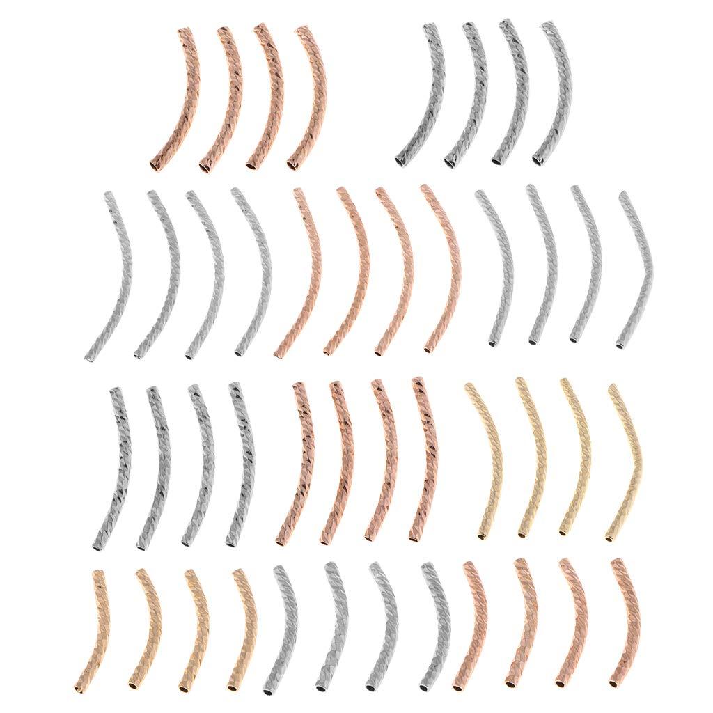 Pendientes DIY IPOTCH 4X Tubo Curvo Perlas Sueltas Espaciadores Metal Hallazgo Artesanal para Fabricaci/ón de Collar Pulsera Golden 2 /× 20mm