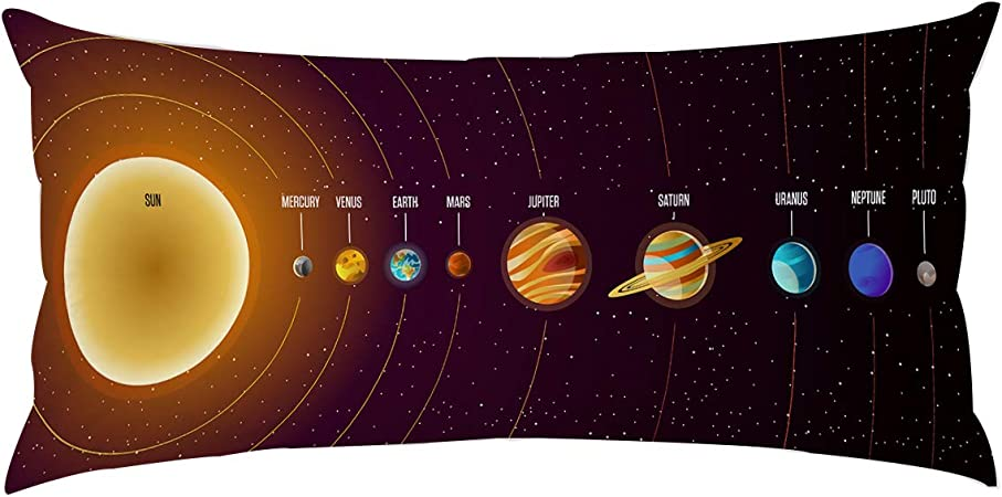 Planets Rockets Cosmonauts Shuttles UFO Cosmic Adventure Digital Kids Nursery Theme Ambesonne Space Body Pillow Case Cover with Zipper 21 x 54 Indigo White Decorative Accent Long Pillowcase