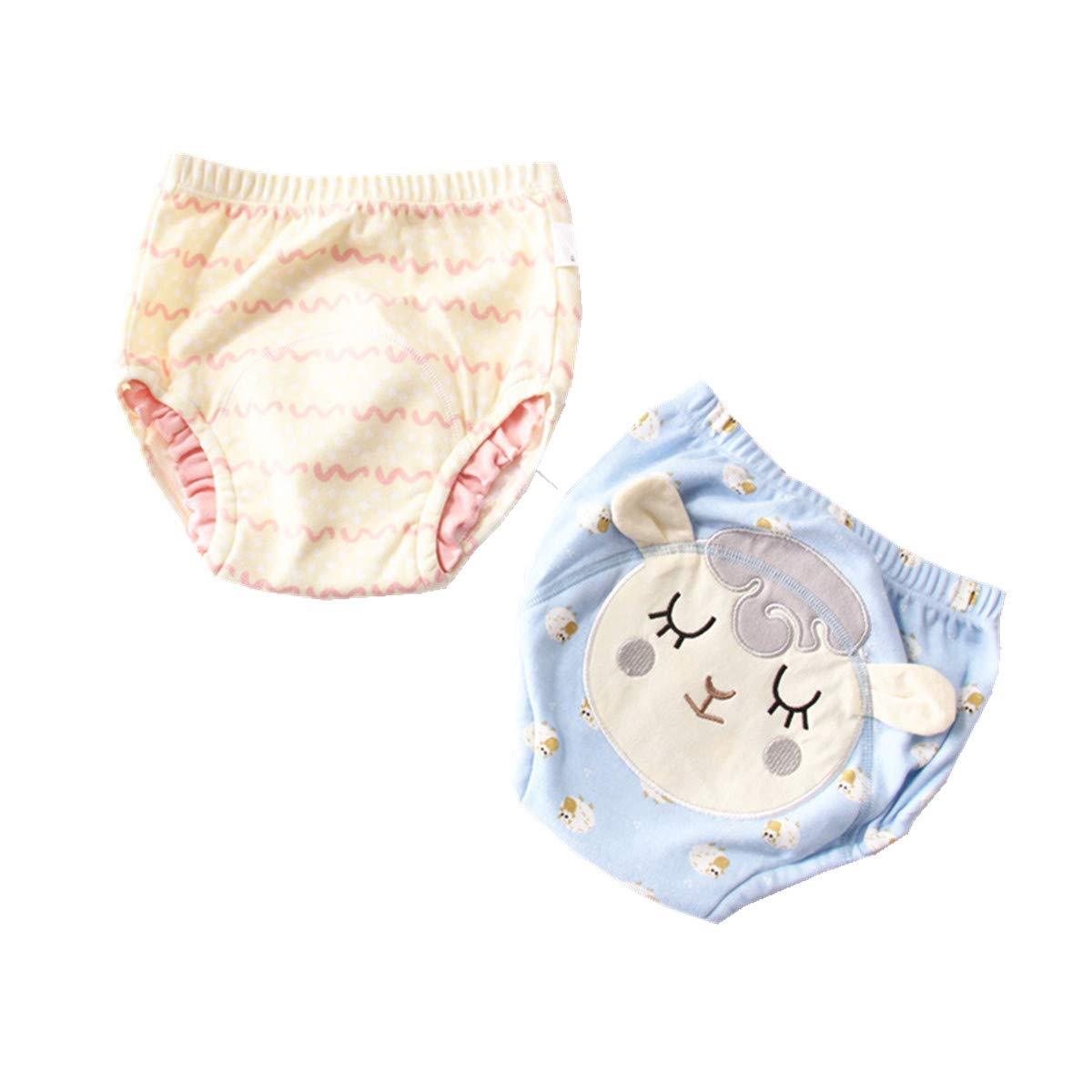 WINZIK 2Pcs Baby Boy Girl Cartoon Potty Training Pants Washable Reusable Toddler Cotton Toilet Nappy Underwear for 12M-3Y
