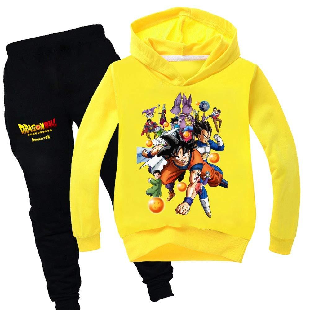Leslady Tute da Ginnastica Due Pezzi Felpa con Cappuccio e Pantaloni Sportivi Dragon Ball Son Goku per Ragazzi