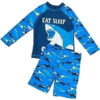 AMIYAN 2-Piece Boys Shark Swimsuit Set Long Sleeve Shirt + Trunks Toddler Cartoon Swimming Suit Kids Rash Guards Bathing…