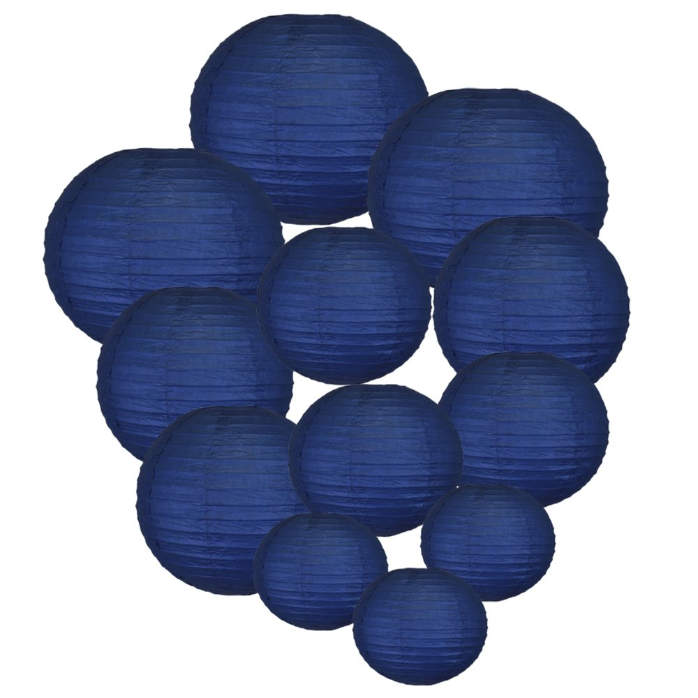 Just Artifacts Decorative Round Chinese Paper Lanterns 12pcs Assorted Sizes (Color: Navy Blue)