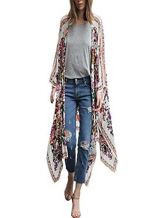 547d2e4edeef0 Besooly Women Cardigan Floral Print Chiffon Shawl Kimono Top Loose Plus Size  Shirt Coat Bohemia Long